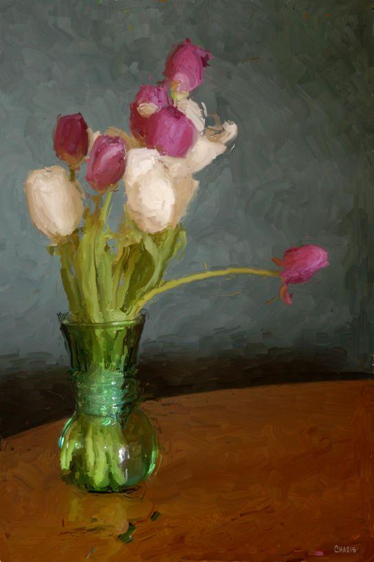 tulips green vase