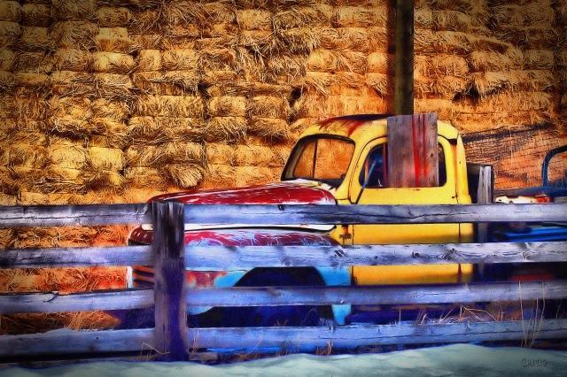 truck hay barn vignette