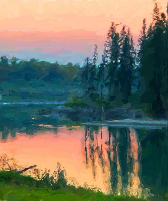 kootenay river oil pastel