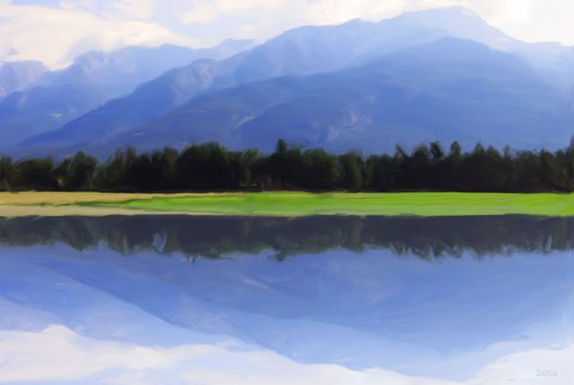 mountain reflect gouache ch