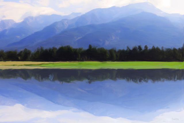 mountain reflect gouache ch