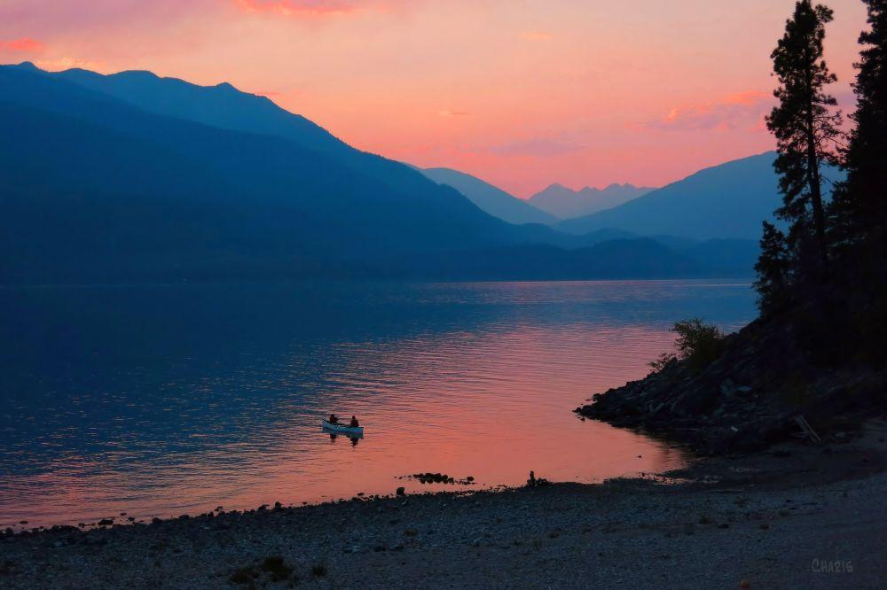 Kootenay Lake sunset canoe 2 IMG_3869 ch