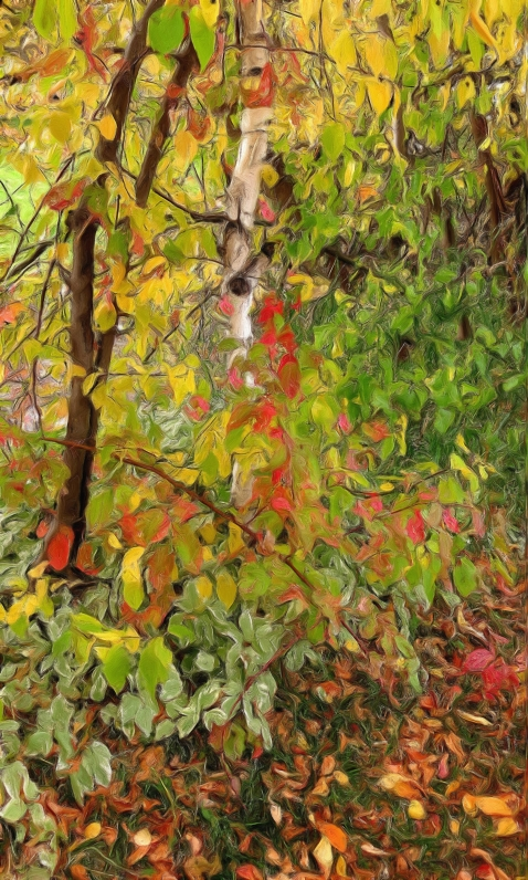 autumn foilage gouache