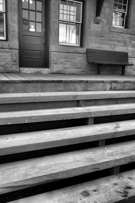 IMG_8638 high river museum bw stairs bench