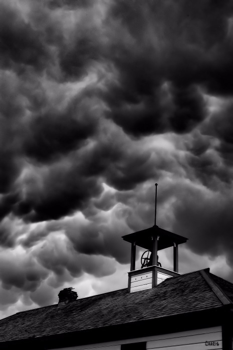 school bell storm bw