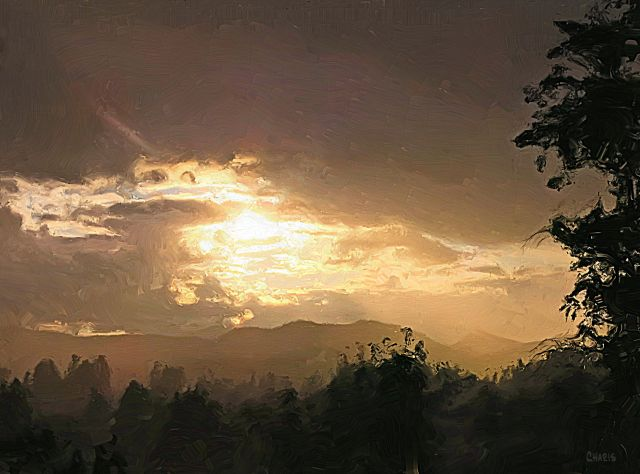 July sunset impasto ch