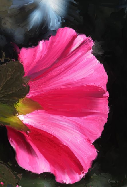 hollyhock acrylic wet deep pink ch