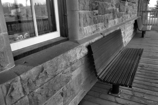 IMG_8639 high river museum waiting train station bw bench