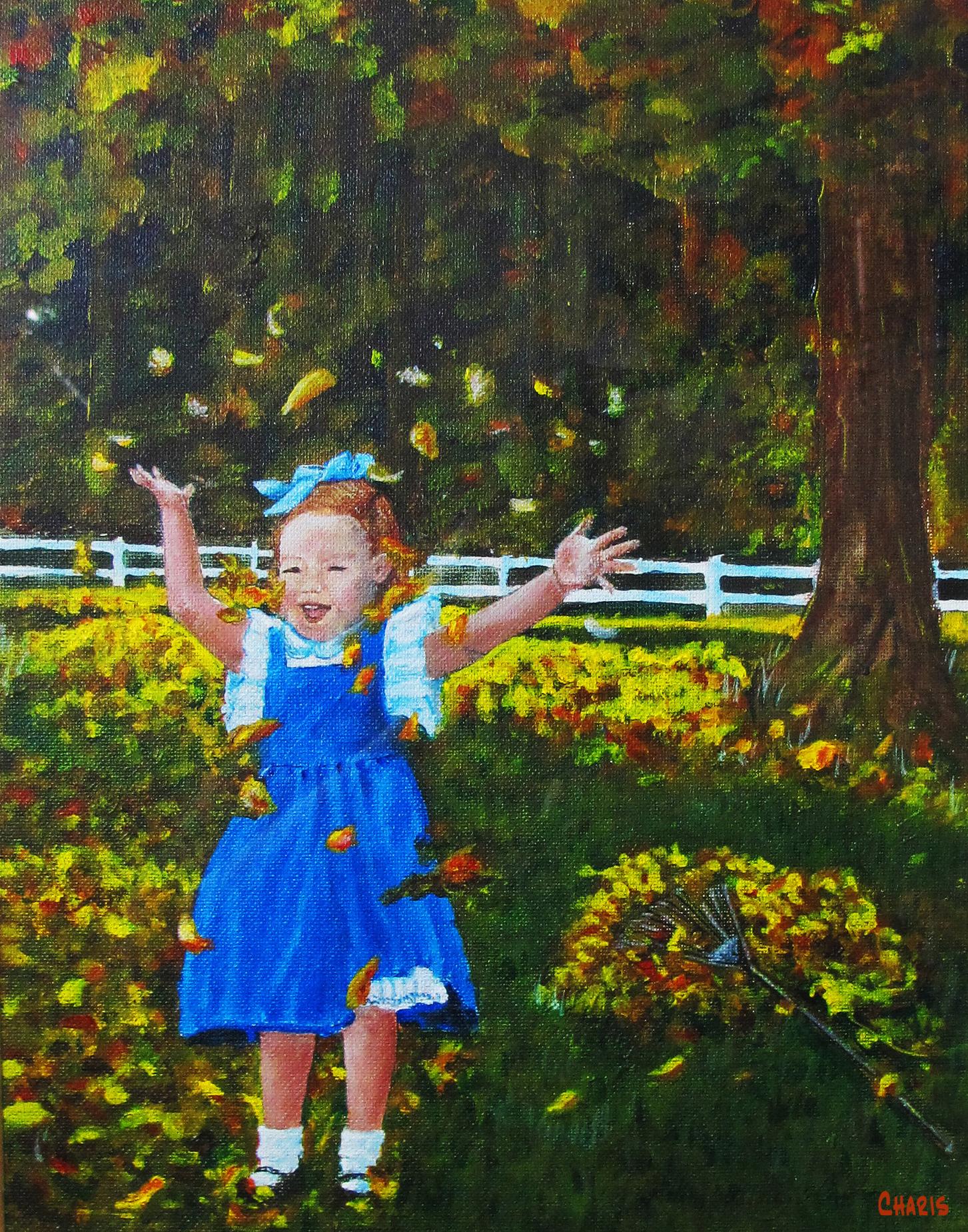 painting girl leaves crop_ charis 1142